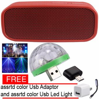H-944 Leather Style Design Bluetooth Wireless Speaker (Red) LEDSmall Magic Ball Disco Party USB Colorful Neon Lights 4W with FreeAssorted USB adaptor and USb Led light