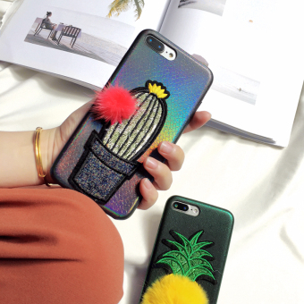 Han Feng iPhone 6 plus/7 plus embroidered cactus phone case