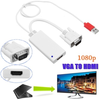 HD1080P VGA to HDMI + USB Audio Video Cable Laptop PC DVD TVAdapter Converter White - intl