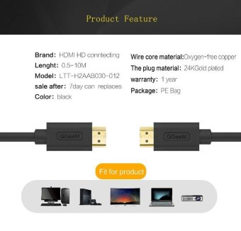 HDMI Cable HDMI to HDMI 1.4 cable 1080P 4k 3D 60FPS Cable for HD TVLCD Laptop PS3 Projector Computer Cable 1m - intl - 2