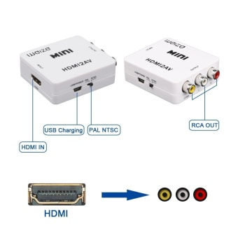 HDMI to AV 3RCA CVBS Composite Video Audio Converter 1080p 720p 460p, Connect HDMI PS4/Xbox 360/Apple TV Box/Blu-Ray DVD to Old NTSC Analog TV - intl