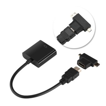 HDMI To VGA Adapter T-Type Micro+Mini HDMI Connector For Top BoxPS4 Xbox360 Black - intl