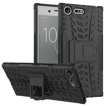 Heavy Duty Armor Case For Sony Xperia XZ Premium Dual Layer Shockproof Kickstand Protective Cover Black - intl