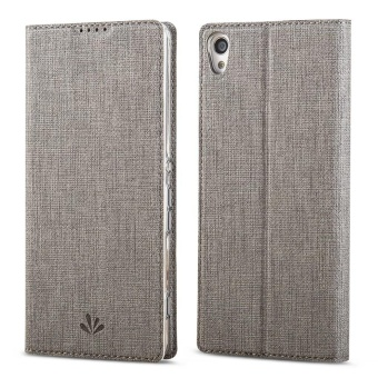 Hicase Slim PU Leather Flip Protective Magnetic Cover Case for Sony Xperia XA Ultra with Card Slot and Stand Feature-Grey