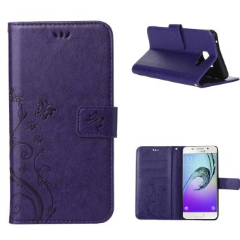 Hicase Wallet Case Flower Pattern Premium PU Leather Case forSamsung Galaxy A5 (2016) Purple - intl