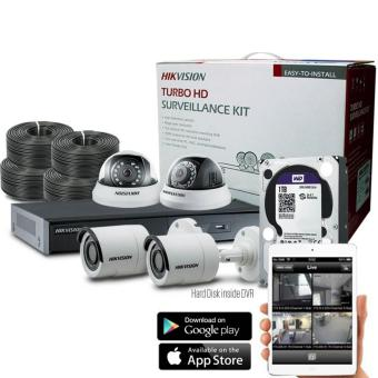 Hikvision 4 Channel 1 MP indoor and outdoor CCTV Package with mobile viewing