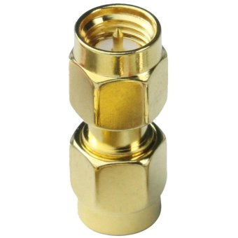 hogakeji Zinc Alloy SMA Male to SMA Male Plug in Series RF Coaxial Adapter Connector (Gold) - intl