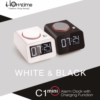 Homtime C1 mini Alarm Clock Speaker with USB Mobile Charger (Black/Grey)