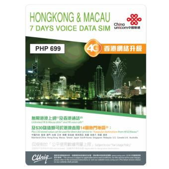 Hong Kong & Macau 7 Days Unlimited 4G/3G Data Sim + Unli HK to HK Voice Calls