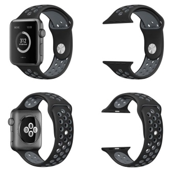 Hot Sales Hot Sales 42mm 1:1 Size Strap Silicon Sports Watch BandStrap for Apple Watch - Black and Grey - 2