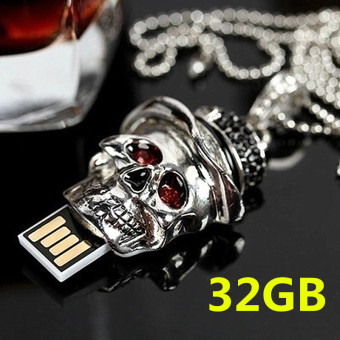 Hot Style! 32GB Creative Mini Skull Usb Waterproof CharacterHigh-speed Usb Computer Notebook Car Speakers Common U Disk - intl