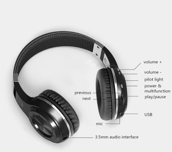 HT Wired Bluetooth Headphone Headset with Microphone (Black) - Intl
