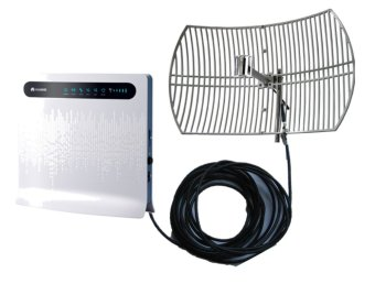 Huawei B593u-12 3G/4G/LTE 100mbps Wi-Fi Router (Multicolor) and Grid Antenna 3G/4G/LTE 20 dbi with 30 meter wires