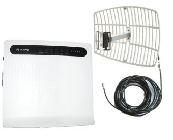 Huawei B593u-12 3G/4G/LTE 100mbps Wi-Fi Router (White) and Grid Antenna 3G/4G/LTE 16 dBi with 10m Wire