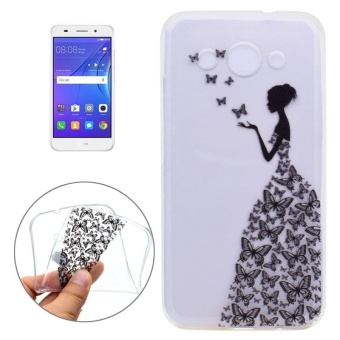 Huawei Y3 (2017) Butterflies And Girl Pattern Ultra-thin TPU SoftProtective Case - intl
