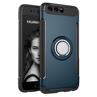 Hybrid Armor Case For Huawei P10 Plus Anti-slip Carbon Fiber TPU + PC Back Cover with Ring Grip/Stand Holder Dark green - intl