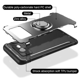 Hybrid Armor Case For Samsung Galaxy J5 Prime / On5 (2016)Anti-slip Carbon Fiber TPU + PC Back Cover with Ring Grip/StandHolder Blue (Blue) (Blue) - 4