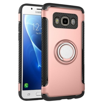 Hybrid Armor Case For Samsung Galaxy J7 (2016) J710 Anti-slipCarbon Fiber TPU + PC Back Cover with Ring Grip/Stand Holder RoseGold (Rose Gold) (Rose Gold)