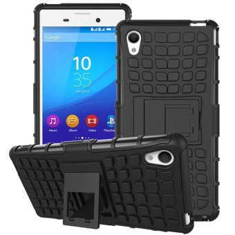 Hybrid Armor Rugged Hard Case Stand Cover For Sony Xperia M4 AquaBlack - intl