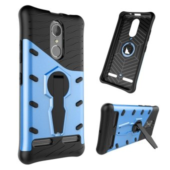 Hybrid Shock-Absorbing Protective Tough Rugged TPU PC Dual LayerRotate Kickstand Case for Lenovo K6 Blue - intl