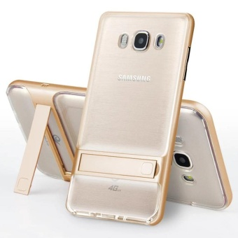 Hybrid TPU + PC Bumper Case for Samsung Galaxy J7 (2016) J710 DualLayer Anti-Scratch Kickstand Protective Cover Gold