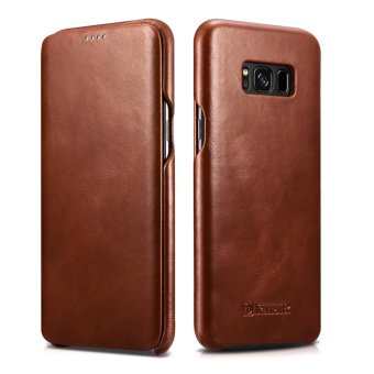 ICARER Ultra Slim Vintage Genuine Leather Case Flip Folio Protective Cover for Samsung Galaxy S8 - intl