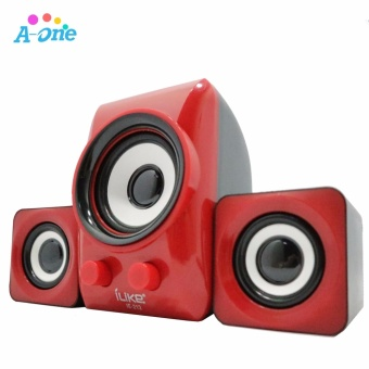 ILike DC 5V computer PC Speaker 3.5mm Jack Audio Stereo USB MiniSubwoofer 3D Sound 2.1 CH PC Computer Speakers for Desktop Laptop (RED / BLUE / BLACK )