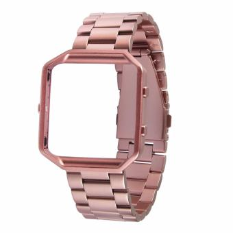Harga Fitbit Blaze Luxury HOCO Stainless Steel Watchband Bracelet Strap with Frame for Fitbit Blaze (Rose Gold)