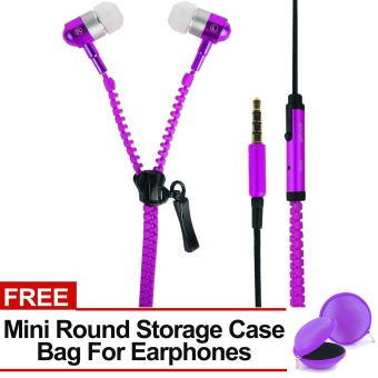 Sound Bytes Super Bass Zipper In-Ear Earphones (Violet) with FREE Mini Round Storage Case Bag For Earphones Price Philippines