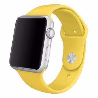 Harga Silicone 42mm Sports Watch band Bracelet Strap for Apple Watch Series 1 2 (Yellow)