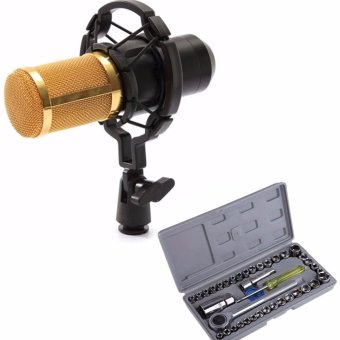 BM-800 Condenser Sound Recording Microphone with Shock Mount for Radio Braodcasting (Black) WITH Aiwa Combination Socket Wrench 40-piece Set Price Philippines