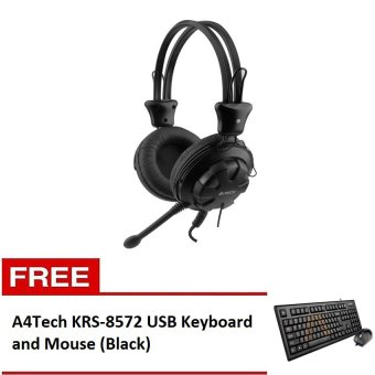 A4Tech HS-28-1 ComfortFit Stereo Headset (Black) with Free A4Tech KRS-8572 USB Keyboard and Mouse (Black) Price Philippines