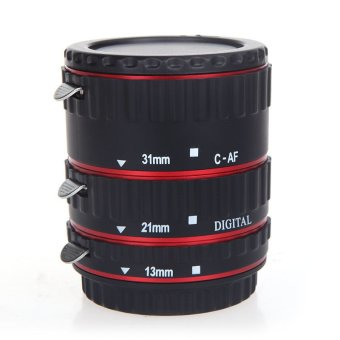 Harga EOS EF EF-S 60D 7D 5D II 550D Colorful Metal TTL Auto Focus AF Macro Extension Tube Ring for Canon Red