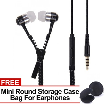 Sound Bytes Super Bass Zipper In-Ear Earphones (Black) with FREE Mini Round Storage Case Bag For Earphones Price Philippines