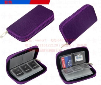 Harga Memory Card Storage Carrying Pouch Case Holder Wallet For CF/SD/SDHC/MS/DS-Purple - intl