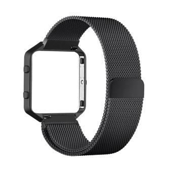 Harga Luxury Milanese Loop Magnetic Stainless Steel Watchband Bracelet Strap for Fitbit Blaze (Black)