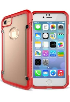 Harga Qing Defender Shockproof Case for Apple iPhone 5s (Clear/Red)