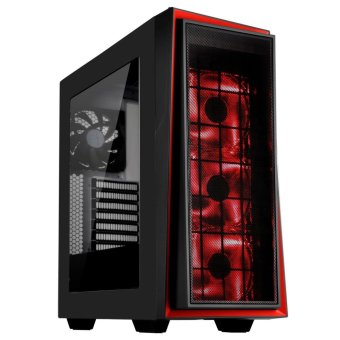 Redline 06 PRO Black Mid Tower Case w/ Red Trim + Red LED fans Price Philippines