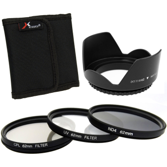 Harga XCSOURCE 3pcs UV CPL ND4 Filter + Lens Hood 62mm for Canon EOS 1100D 1000D 6D 7D 5D LF283