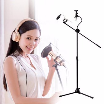 Harga Idol K8 Microphone Center Stage Stand with Pop Filter Tripod (Black)