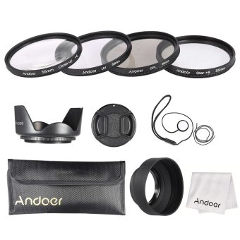 Andoer 55mm Lens Filter Kit (UV + CPL + Star+8 + Close-up+4 ) with Lens Cap + Lens Cap Holder + Tulip & Rubber Lens Hoods + Cleaning Cloth Outdoorfree - INTL Price Philippines