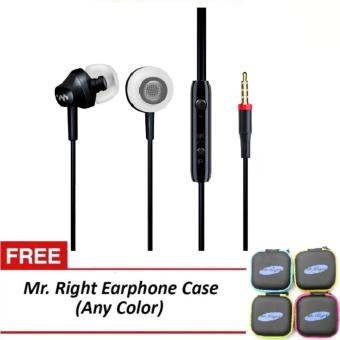 Harga Mr. Right M8 110dB Original SuperBass Intelligent In-Ear Headphones (Black) with free Mr. Right Headphone Case (any color)