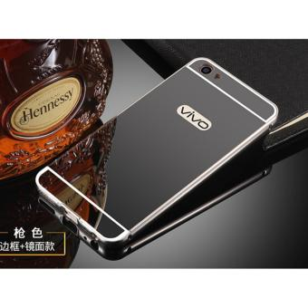 Harga Metal Frame Mirror Back Cover Case For VIVO V5 / VIVO Y67 (Black) - intl