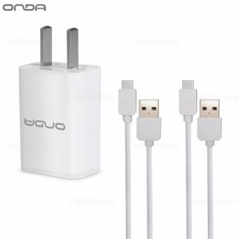 Onda 1A USB Slot Charger Adapter 1.0mAh Quick Speed Charging (White) w/ 2 Onda XC02 USB Cable For Android (White) Price Philippines
