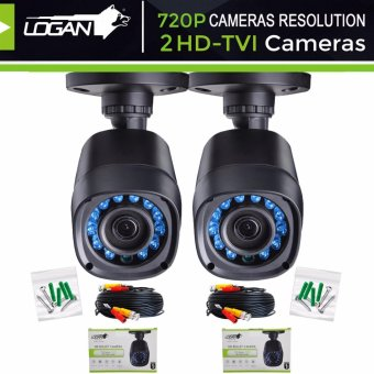 Logan L-DX421M HD TVI Plastic Bullet CCTV Weatherproof IP66 Indoor/ Outdoor 24IR LED Night Vision 720P 1MP with 60ft (18.3m) Video Cable Replacement/Extra Cameras (Set of 2)-ONLY for LOGAN XVR KIT or TVI-DVR Price Philippines