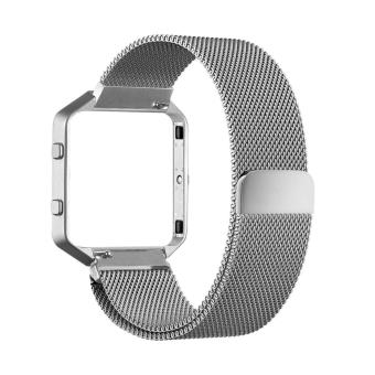 Harga Luxury Milanese Loop Magnetic Stainless Steel Watchband Bracelet Strap for Fitbit Blaze (Silver)