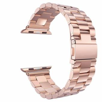 Harga Luxury HOCO Stainless Steel 38mm Watchband Bracelet Strap for Apple Watch Series 1 2 (Rose Gold)