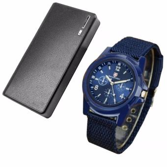 Harga Wallet Style Power Bank 20000mAh (Black) with Gemius Army Military Sports Style Army Blue