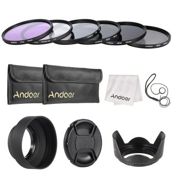 Andoer 72mm Lens Filter Kit UV+CPL+FLD+ND(ND2 ND4 ND8) with Carry Pouch / Lens Cap / Lens Cap Holder / Tulip & Rubber Lens Hoods / Cleaning Cloth Outdoorfree - INTL Price Philippines