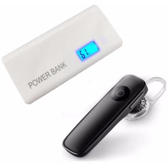 Pinoy Puff PF-103 20000mAh 2-Port Smart Power Bank for Smartphones and Tablets with LED Light and LCD Display (White) With M165 Bluetooth V4.0 Stereo Smartphone Headset for iphone Android Price Philippines